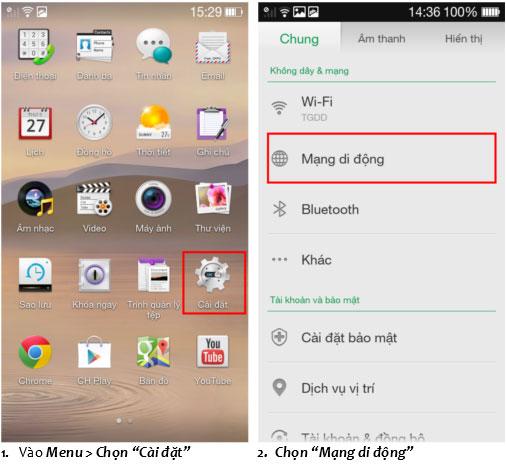 Hướng dẫn cài đặt 3G Vinaphone cho điện thoại OPPO
