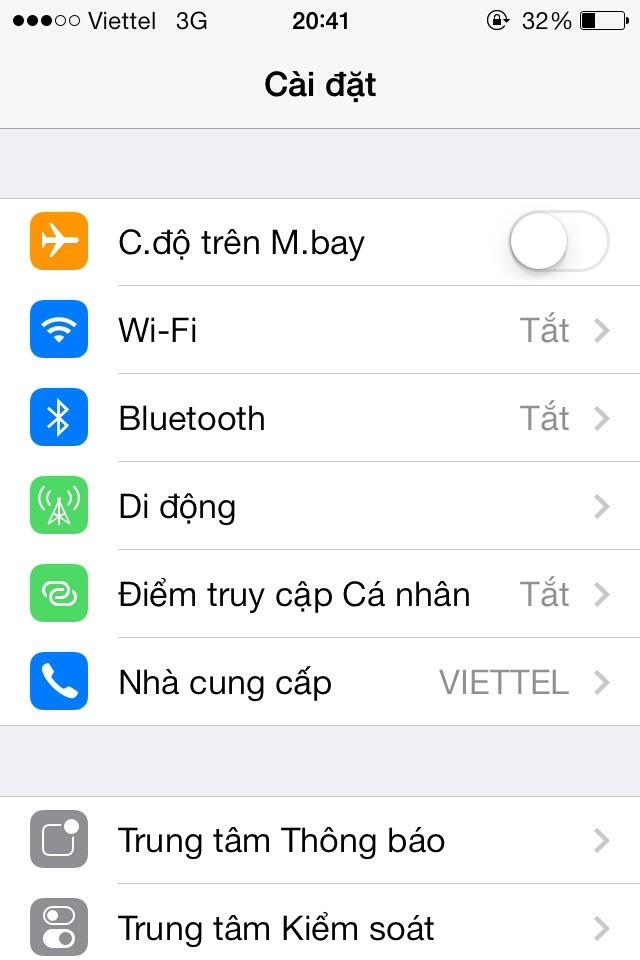 huong dan bat tat 3G tren iphone