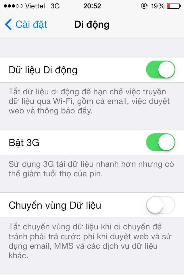 huong dan bat tat 3G tren iphone