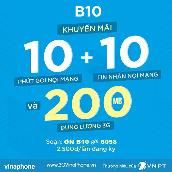 Đăng ký gói cước B10 Vinaphone gọi nội mạng chỉ 2.500đ