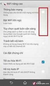 Tắt tự động dò và kết nối wifi