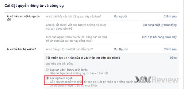 cach chan tin nhan facebook