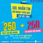 Đăng ký gói B100 của Vinaphone ưu đãi 250p gọi 250sms