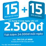 Đăng ký gói C15 Vinaphone ưu đãi 15' gọi và 15 SMS chỉ 2.500đ