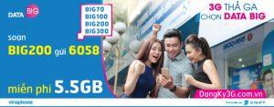 Đăng ký BIG200 Vinaphone miễn phí 5,5GB DATA tốc độ cao