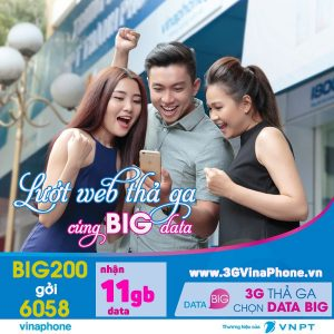 Đăng ký gói BIG200 Vinaphone miễn phí 11 GB DATA tốc độ cao