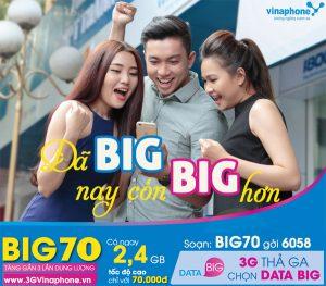 Đăng ký gói BIG70 Vinaphone miễn phí 2.4 GB data chỉ 70.000
