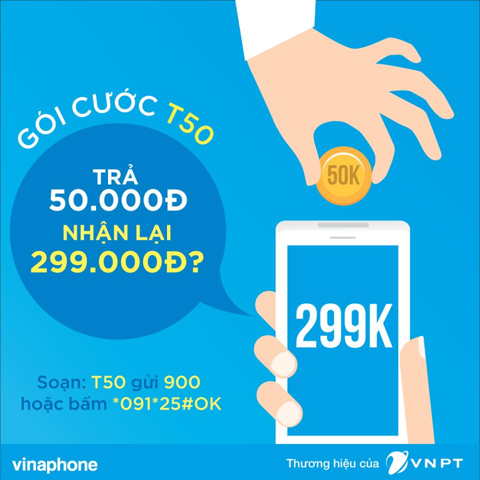 Đăng ký gói cước T50 Vinaphone trả 50.000đ nhận 299.000đ