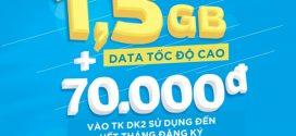 Đăng ký gói cước M70 Vinaphone miễn phí 70.000đ + 1,5GB data