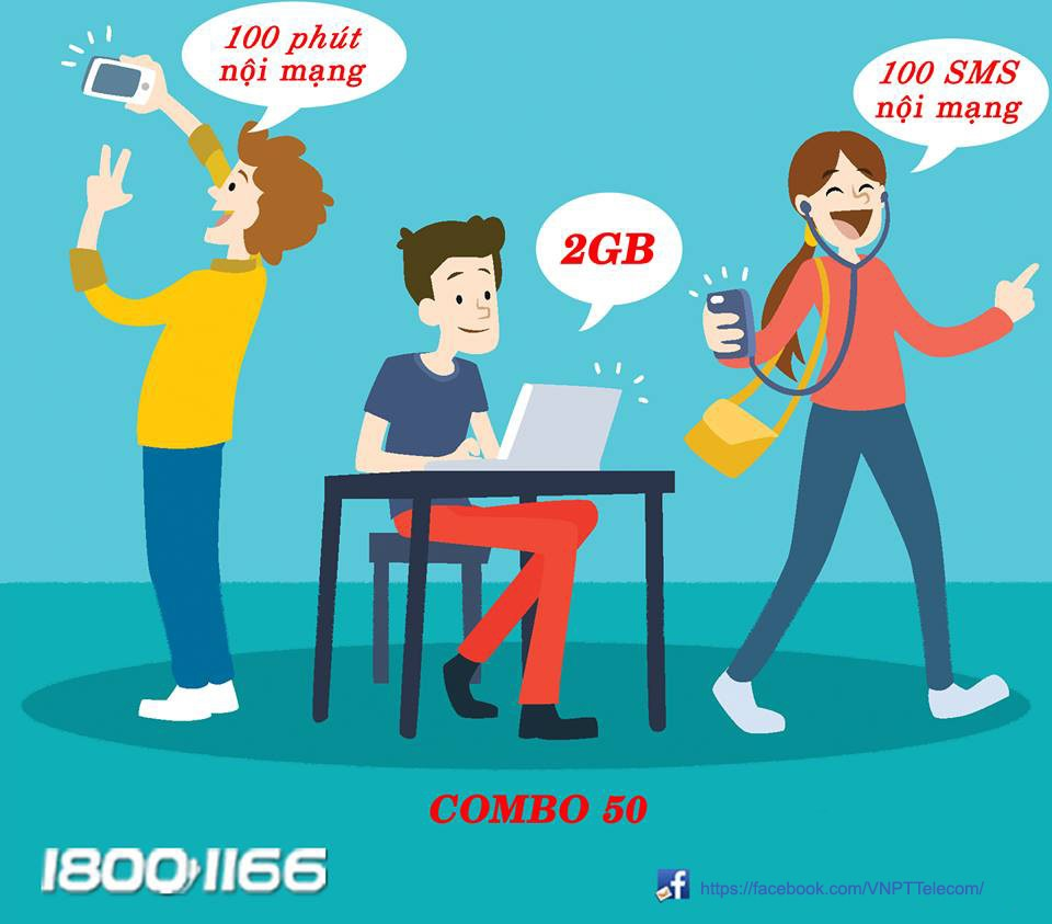 Gói Combo50 Vinaphone ưu đãi gọi sms data chỉ 50.000đ