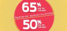 Vinaphone khuyến mãi ngày 10/6/2016 tặng 50% 65% thẻ nạp