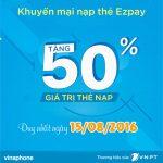Khuyến mãi Vinaphone tặng 50% khi nạp thẻ qua EZpay 15/8