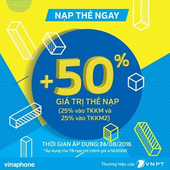 Vinaphone khuyến mãi ngày vàng 26/8 tặng 50% thẻ nạp