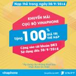 Vinaphone khuyến mãi tặng 100% thẻ nạp ngày 20/9/2016