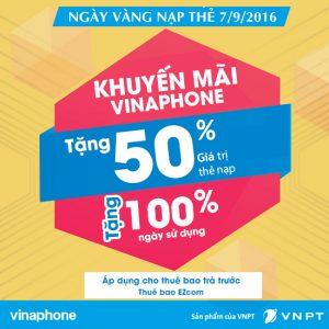 Vinaphone khuyến mãi tặng 50% giá trị thẻ nạp ngày 7/9/2016