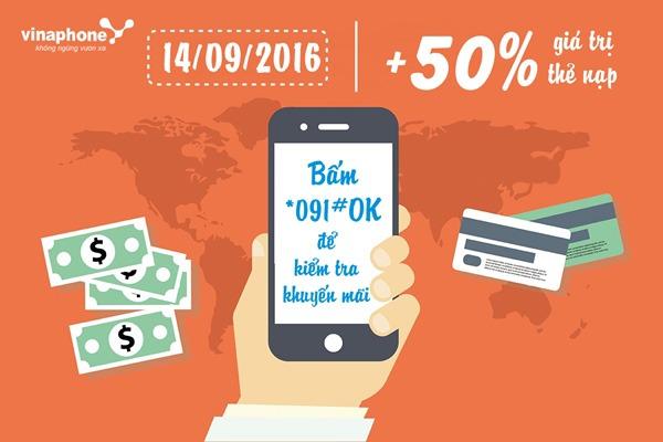 Khuyến mãi cục bộ Vinaphone tặng 50% thẻ nạp ngày 14/9