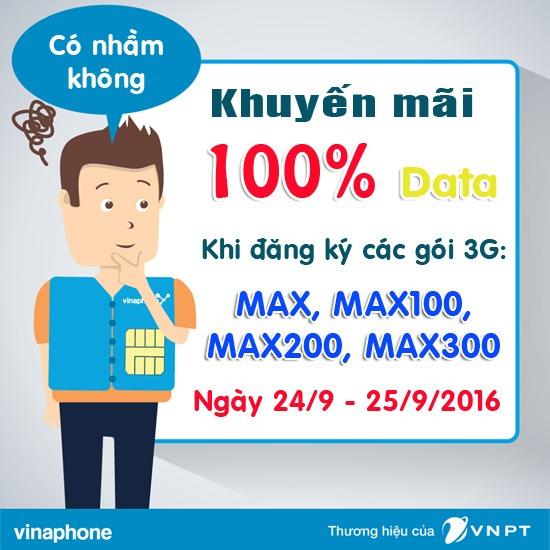 Tặng 100% data khi đăng ký 3G Vinaphone ngày 24/9 và 25/9