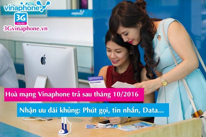 Khuyến mãi Vinaphone hoà mạng trả sau tháng 10/2016