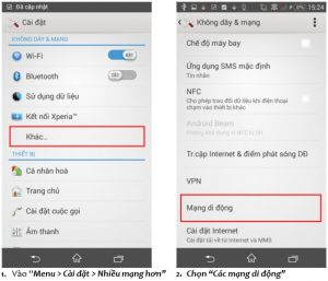 Cách cài đặt 3G Vinaphone cho điện thoại SONY