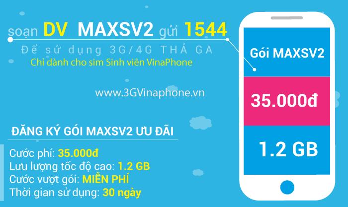 Đăng ký MAXSV2 Vinaphone sinh viên có 1,2GB data 25.000đ