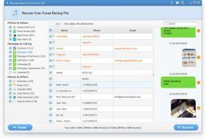 Bước 2: Khi kết thúc quá trình scan, bạn có thể nhìn thấy toàn bộ tập tin sao lưu trong các danh mục như Photos & Videos, Danh bạ, Tin nhắn, lịch sử cuộc gọi Lịch sử và Notes. Để khôi phục lại tin nhắn SMS đã bị xóa từ iPhone, bạn chỉ cần kiểm tra và nhấn vào tùy chọn tin nhắn. Tiếp đến, bạn chỉ cần nhấn Recover để lưu tất cả các tin nhắn vào máy tính.