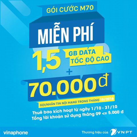 Khuyến mãi Vinaphone tặng gói M70 cho thuê bao trả trước