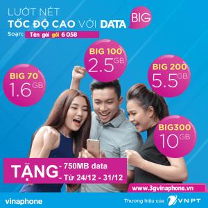 Khuyến mãi Vinaphone tặng 750MB khi đăng ký các gói Big Data