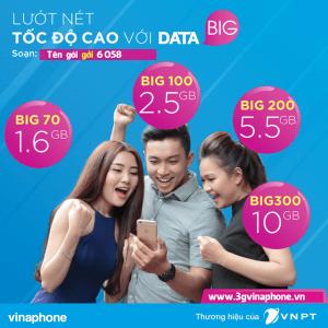Khuyến mãi Vinapone tặng 750MB khi đăng ký các gói Big Data