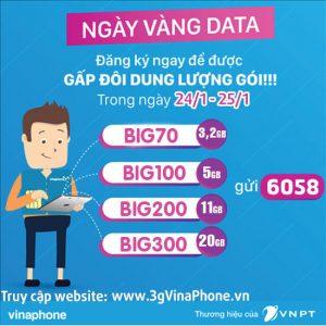 Vinaphone khuyến mãi tặng 100% gói Big Data ngày 24/1 - 25/1