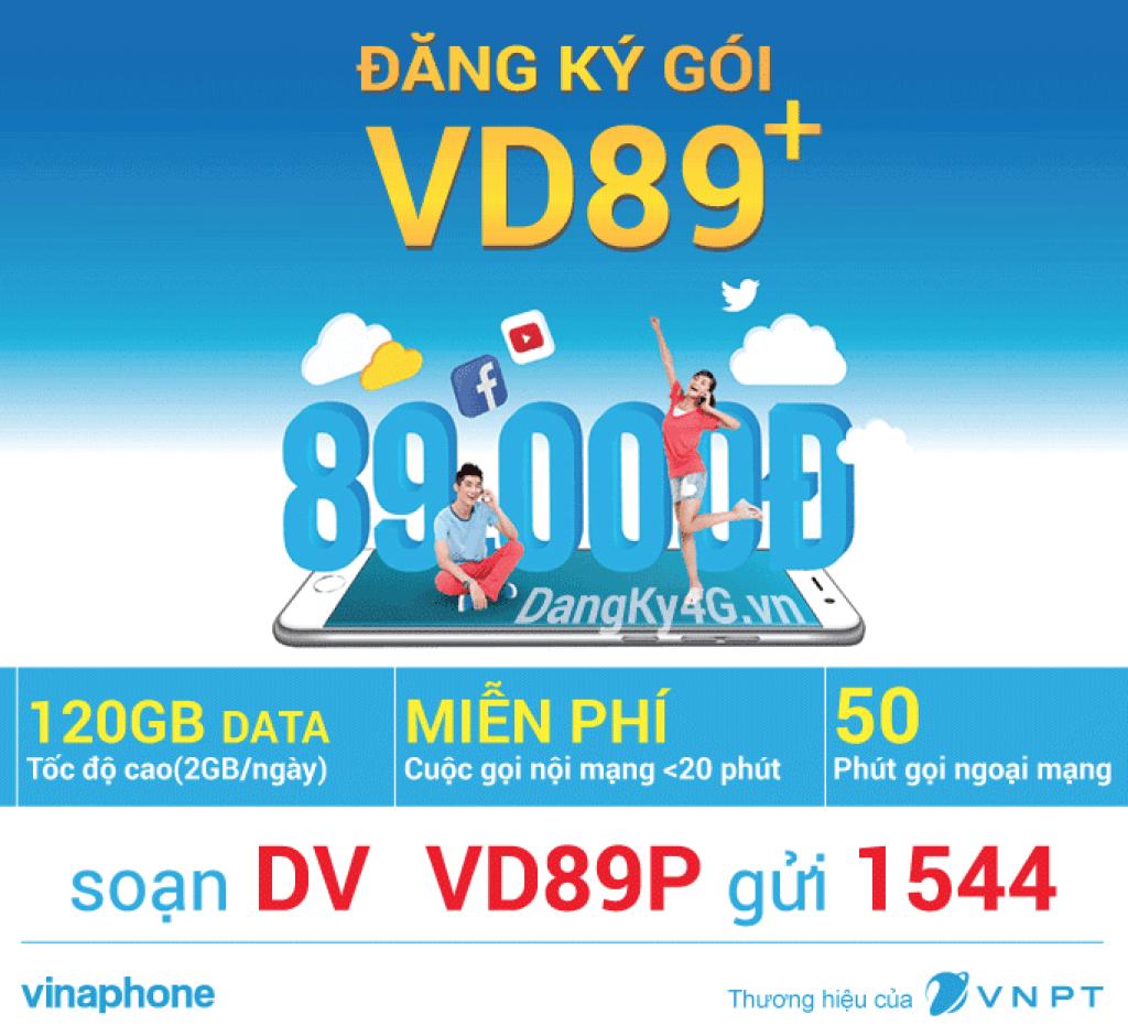 Đăng ký gói cước VD89 Plus Vinaphone nhận 120 GB + gọi thả ga - VD89P Vinaphone
