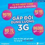 Tặng 100% khi đăng ký gói BIG Data Vinaphone ngày 24/2 - 25/2