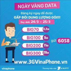 Đăng ký gói Big VinaPhone tặng 100% data ngày 24/3 - 25/3