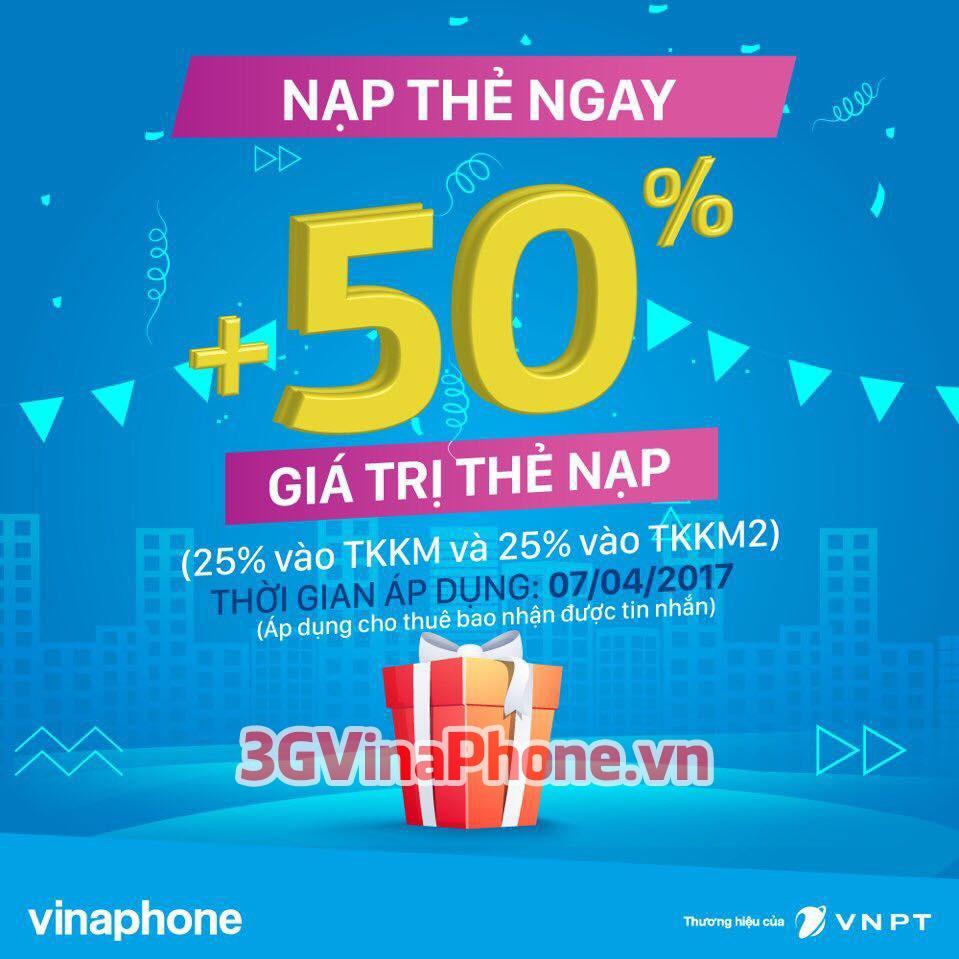 Chương trình khuyến mãi VinaPhone 7/4 tặng 50% giá trị thẻ nạp