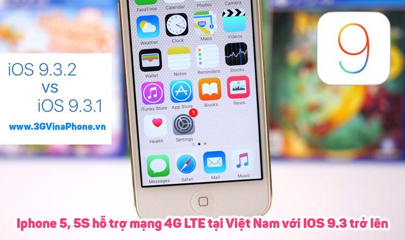 Điện thoại iPhone 5 5S có hỗ trợ 4G nếu được nâng cấp iOS 9.3