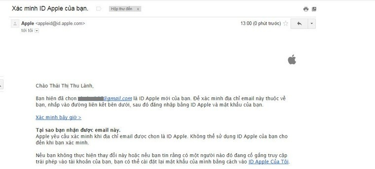 Xác minh email tạo Apple ID