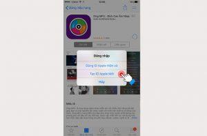 Xuất hiện bản thông báo bạn chọnTạo ID Apple Mới