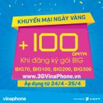Khuyến mãi tặng 100% data gói BIG VinaPhone ngày 24/4-25/4/2017