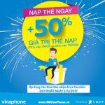 Khuyến mãi VinaPhone ngày 5/5 tặng 50% giá trị thẻ nạp cục bộ