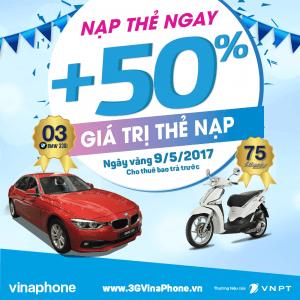 Vinaphone khuyến mãi ngày vàng 9/5/2017 tặng 50% thẻ nạp