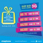 Đăng ký gói Big Data nhân đôi dung lượng ngày 24/6 - 25/6