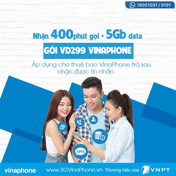 Đăng ký gói VD299 VinaPhone nhận 400 phút gọi và 5Gb data