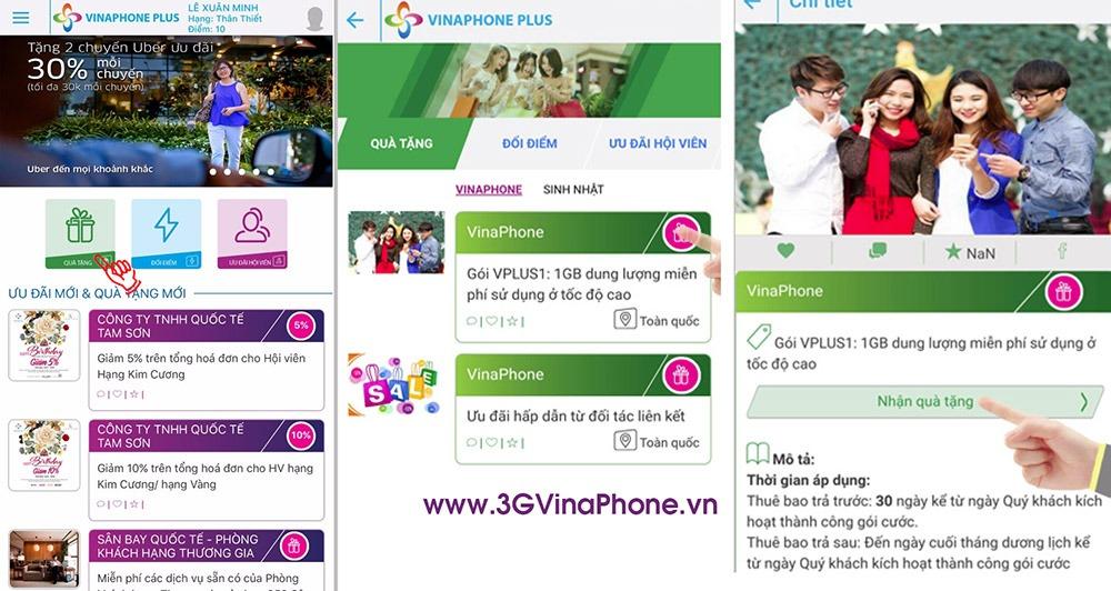 Nhận quà 1Gb data từ VinaPhone Plus