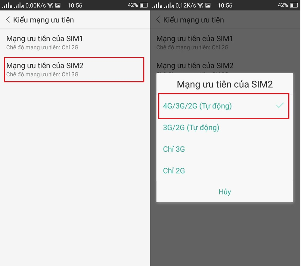 Khắc phục 3G VinaPhone hiện chữ E mà không phải là 3G, H+, 4G