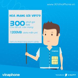 Hoà mạng gói cước trả sau VIP179 Vinaphone gọi miễn phí 3 mạng