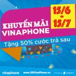 Vinaphone khuyến mãi tặng 50% cước trả sau từ 15/6 đến 15/7/2017