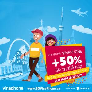 VinaPhone khuyến mãi ngày 21/6/2017 tặng 50% giá trị mỗi thẻ nạp
