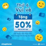 VinaPhone khuyến mãi 50% thẻ nạp 9/5/2017 thứ 6 vui vẻ