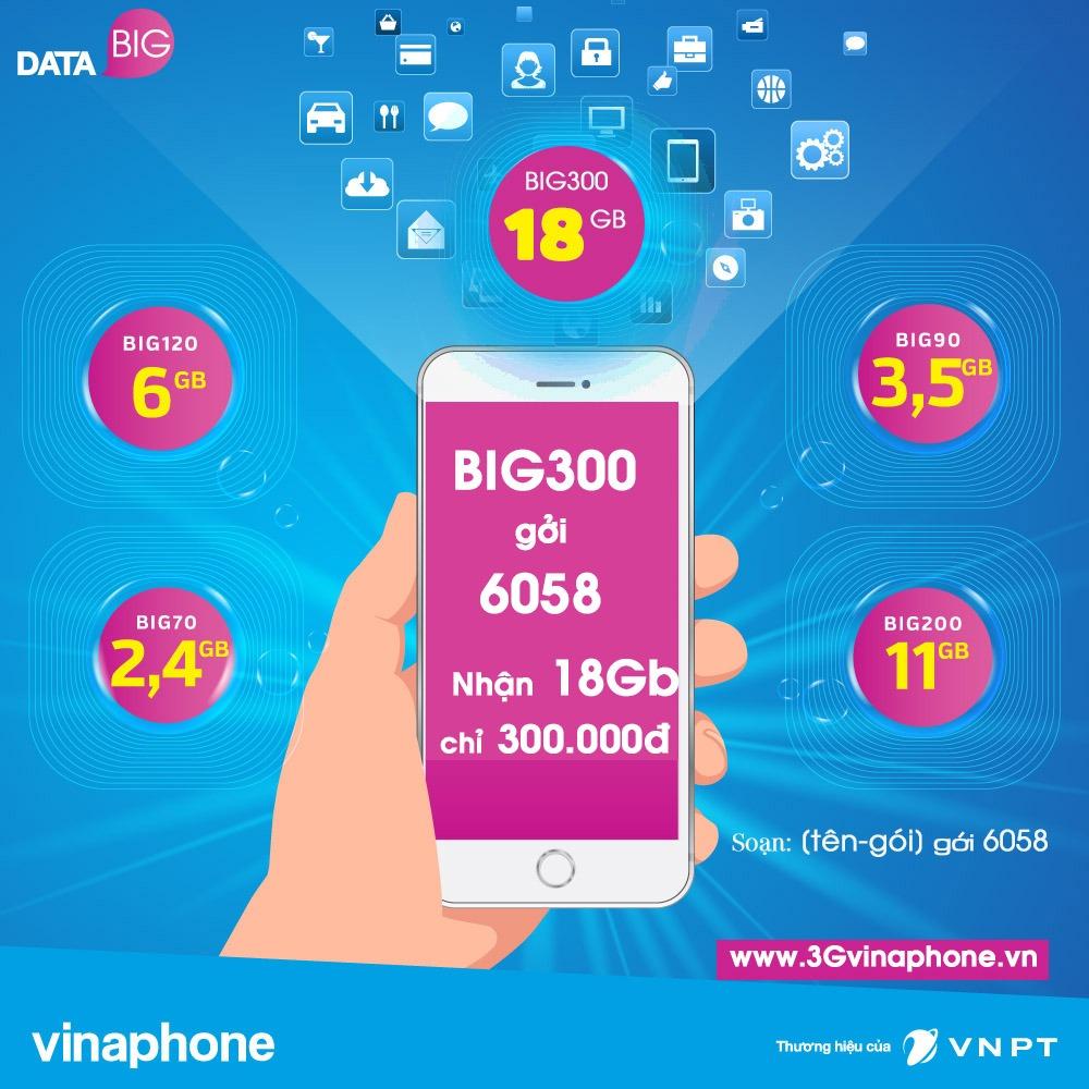 đăng ký big300 vinaphone nhận 18gb data