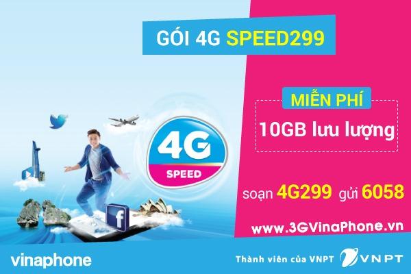 Đăng ký gói cước 4G Data Speed299 Vinaphone nhận 10GB data