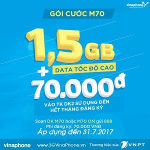 Đăng ký gói M70 VinaPhone nhận ưu đãi 1,5Gb + 70.000